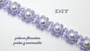 DIY - Pulsera de florecitas con perlas y swarovskis Flower bracelet