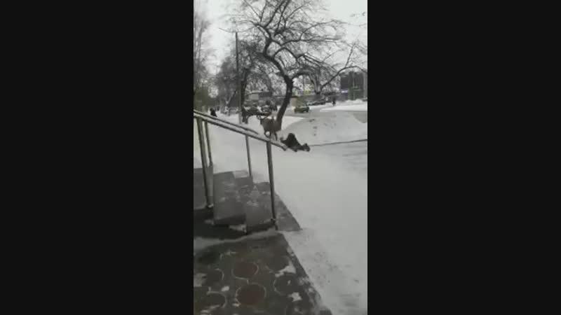 Прогулка оленя по улицам Назарово. Вырвался и протащил мужчину по улице.