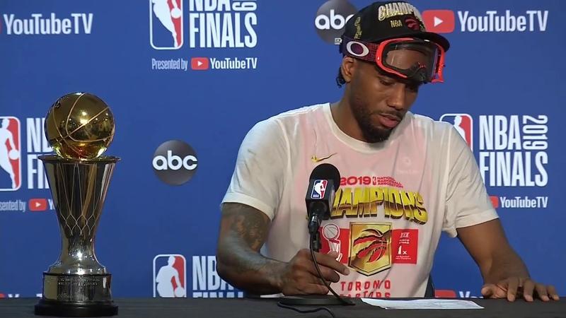 Kawhi Leonard Forgets His MVP Trophy at Press Conference   June 13, 2019 NBA Finals