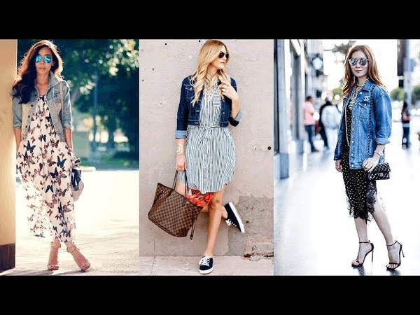 Dress And Denim Jacket Outfit Fashion 💝Vestido y Chaqueta Jean Moda
