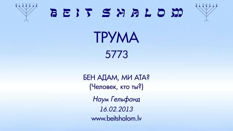 «ТРУМА» 5773 «БЕН АДАМ, МИ АТА؟ (Человек, кто ты؟)» Н. Гельфанд (16.02.2013)