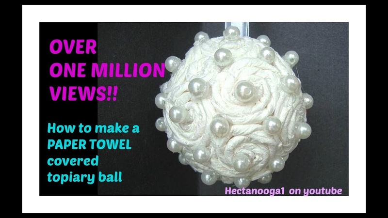 Paper Towel covered FLOWER BALL, topiary, christmas ornament, bridal, wedding decor
