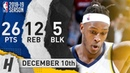 Myles Turner Full Highlights Pacers vs Wizards 2018 12 10 26 Pts 12 Reb 5 Blocks