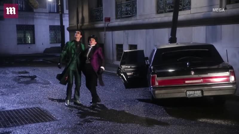 Робин Лорд Тейлор и Кори Майкл Смит на съемках последней серии Готэма