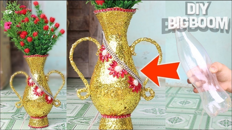 How to make flower vase with plastic bottle Unique Idea 2018 DBB