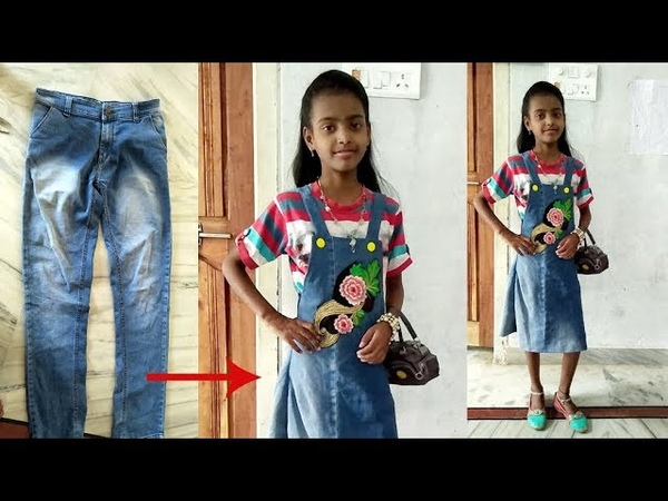 DIY ConvertReuse old Mens Jeans into girls DUNGAREE DRESS DUNGAREE SKIRT By Sri Tv