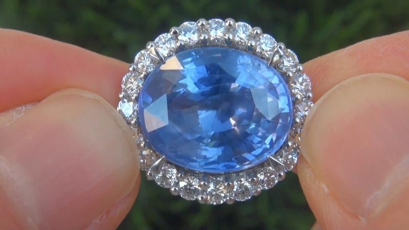 GIA GRS Certified Unheated Natural Blue Ceylon Sapphire Diamond Platinum Ring 16.26 TCW - C755