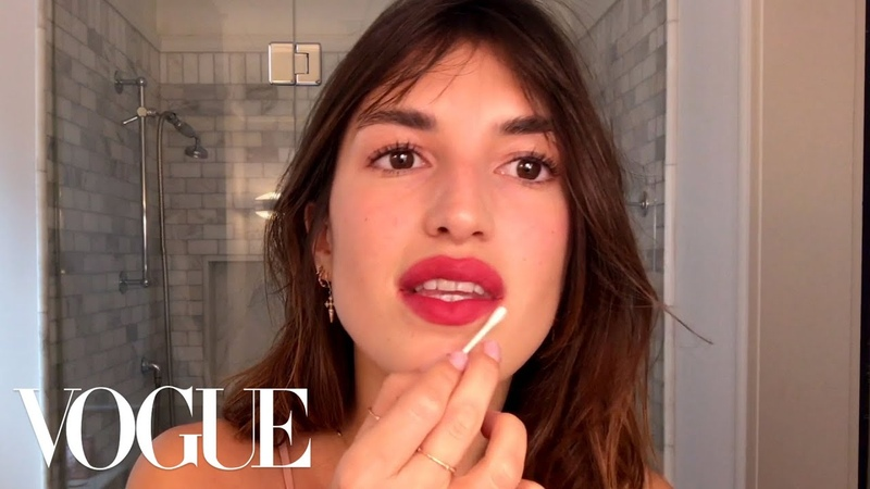 Jeanne Damas Does French Girl Red Lipstick And a 5 Second Easy Bang Trim Beauty Secrets Vogue