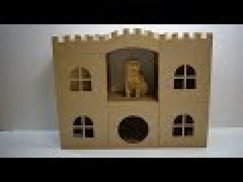 Как сделать домик для кота из картона