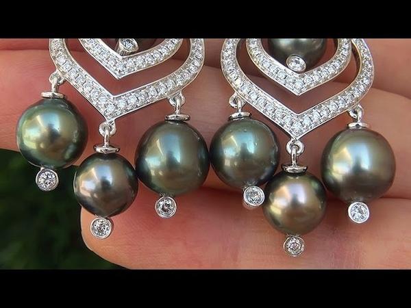 Estate Certified Natural Tahitian Pearl Diamond Chandelier 18k White Gold Earrings C575