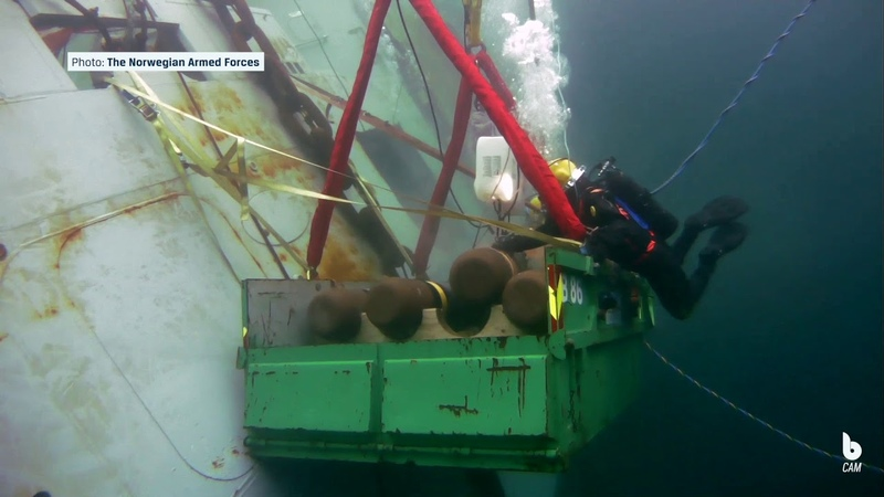 Removing torpedoes from the frigate Helge Ingstad Blueye Underwater Drone