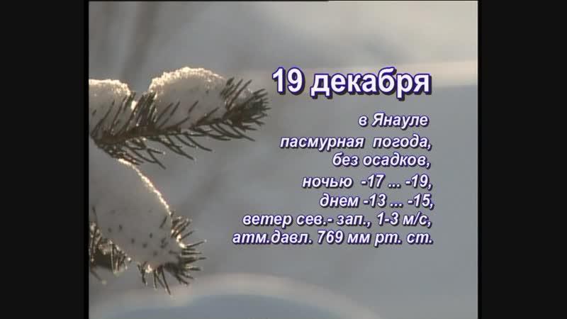 Прогноз погоды на 19 декабря 2018г.