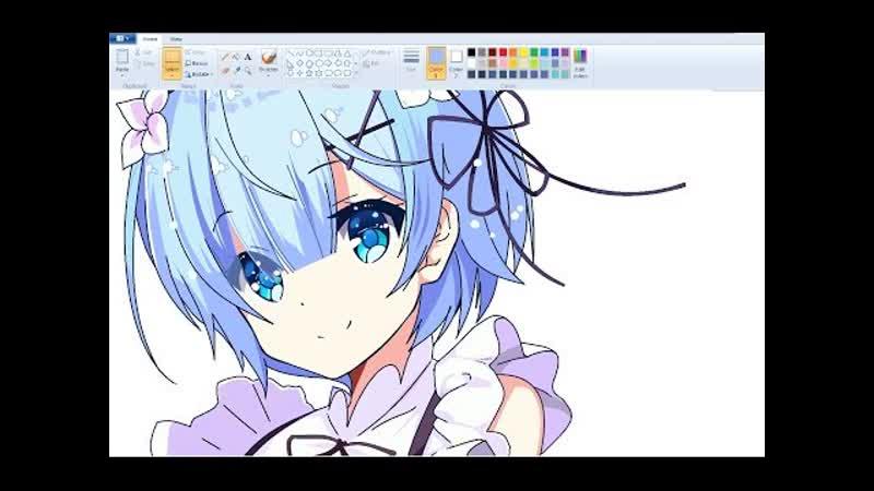 SpeedPaint Draw Anime Girl on MS Paint Rem