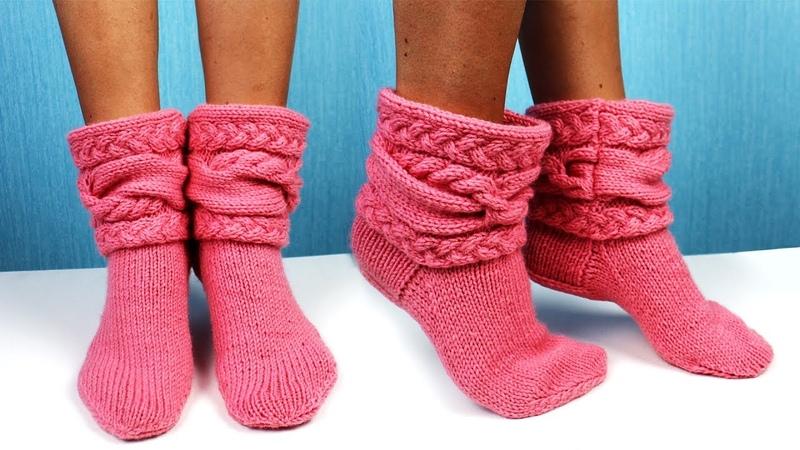 Вязаные носки с косами Вязание спицами
