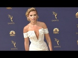 Scarlett Johansson on the red carpet for the 70th Emmy Awards in Los Angeles