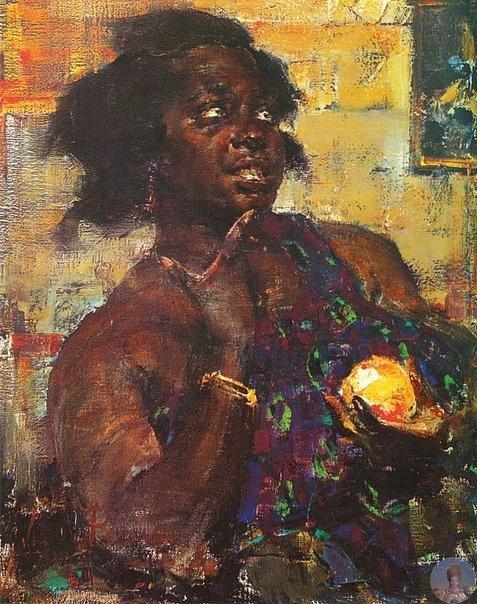Ηикoлaй Ивaнoвич Φeшин (1881-1955) Ηeгpитянкa c aпeльcинoм, 1923 гoд