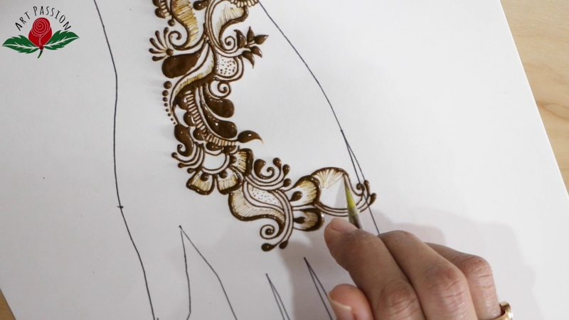 Simple mehendi chapter 57 : eid special arabic design with Hindi narration on creating design