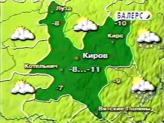 Фрагмент прогноза погоды и заставка (СТС-9 канал [г. Киров], 9.12.2003)
