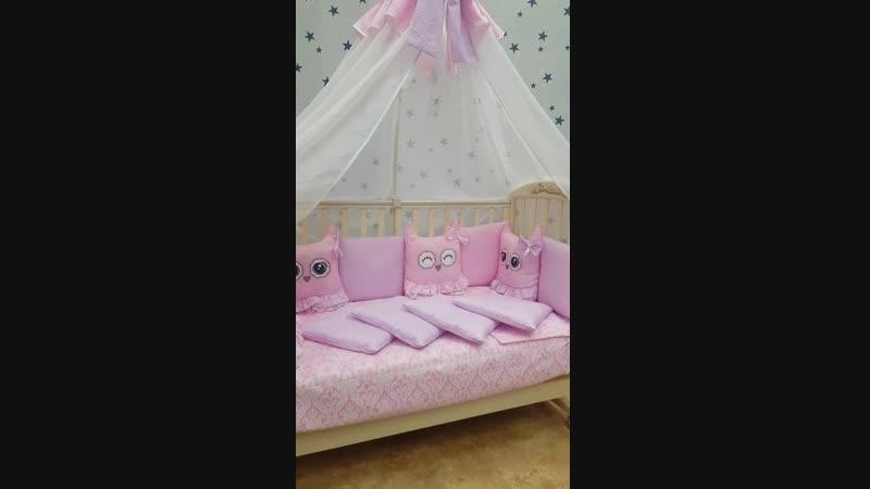Комплект в кроватку Спящие Игрушки - Совушки - открытозакрытые глазки