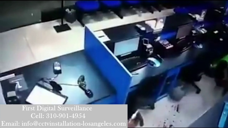 Armed Robbery Caught CCTV Security Camera Los Angeles | Off Duty cop stages gunfight
