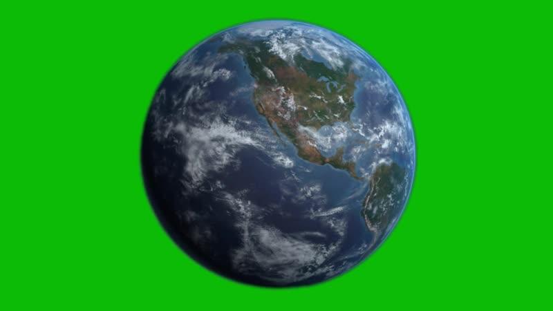 Green Screen Earth rotates Animation Planet Земля Планета вращается