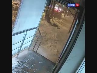 Снег засыпал двух женщин на аллее