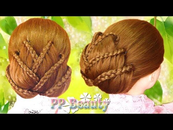 เกล้าผมรูปดอกบัว เปียสาม Lotus Flower Braid Updo Hairstyle 3 Strand Braid