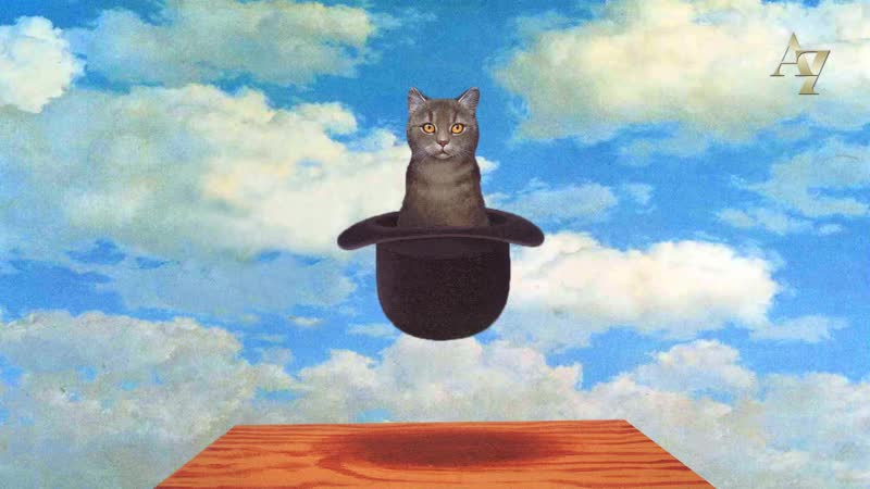 Рене Магритт Кот в шляпе 3D анимация картины