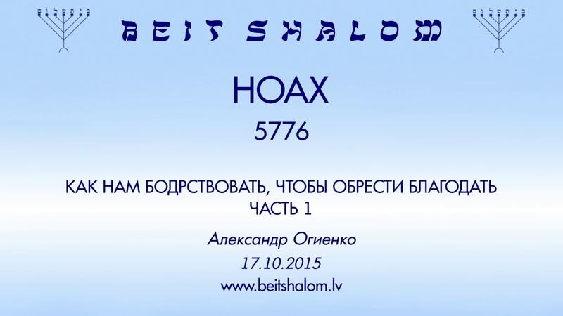 «НОАХ» 5776 ч 1 «КАК НАМ БОДРСТВОВАТЬ, ЧТОБЫ ОБРЕСТИ БЛАГОДАТЬ» А.Огиенко (17.10.2015)