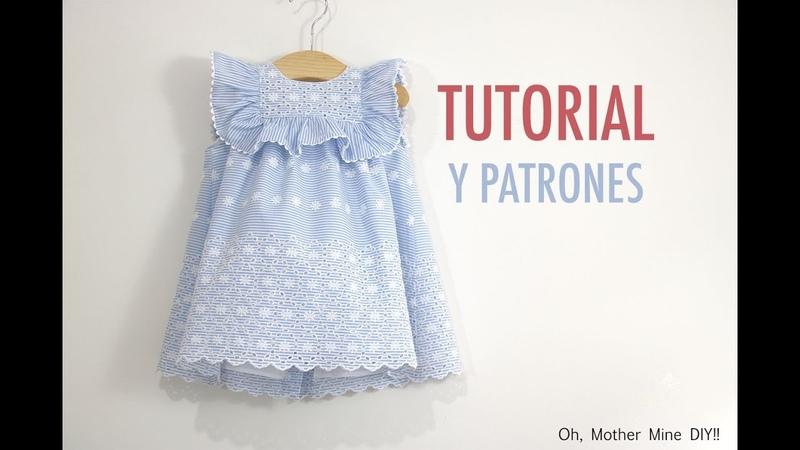 Costura vestido de rayas bordado para niñas (patrones gratis hasta talla 7 años)