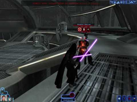 KOTOR Revan Bastila lightsaber duel with Darth Malak on the StarForge (Battle of the Heroes theme)