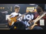 8 year old bass prodigy, Áron Hodek jams with Richard Bona at 2019 NAMM