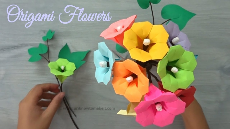 Origami flower - How to make paper flower bouquet, Origami flower tutorial
