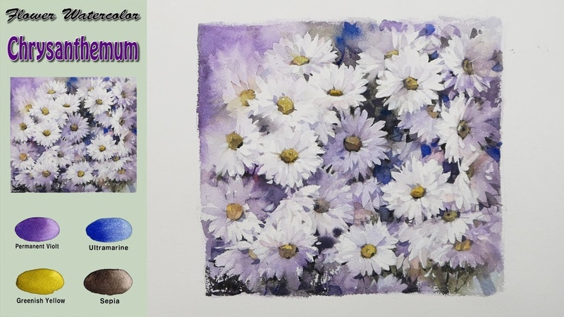Drawing Flower watercolor- White Chrysanthemum (wet-in-wet. Arches rough) NAMIL ART