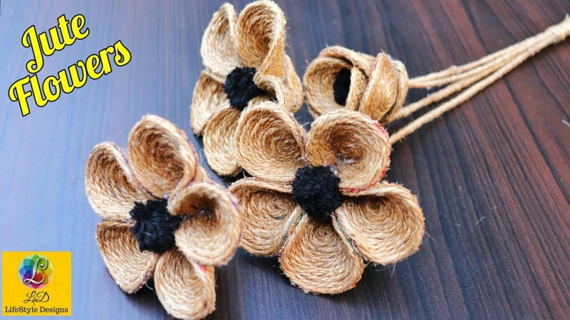 How to Make Jute Flower DIY Rope Flower Jute Craft Decoration Design
