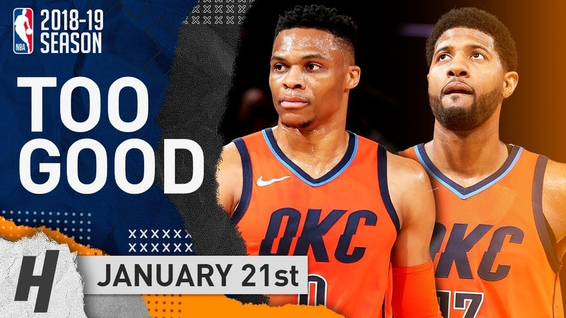 Russell Westbrook Paul George SICK Highlights Thunder vs Knicks 2019.01.21 - 31 Pts for PG