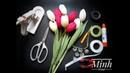 How to make tulip crepe paper flower - Hướng dẫn làm hoa tulip từ giấy nhún