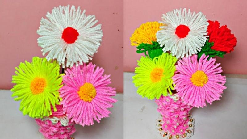 Supper Easy Woolen Flower Flower Pot Making woolen crafts -- Best out of Waste