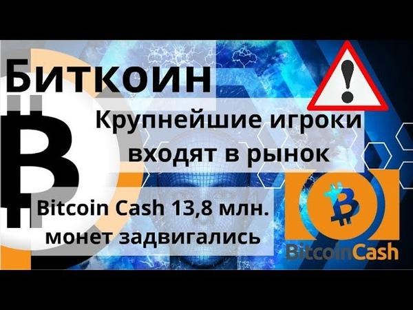 Биткоин. Крупнейшие игроки входят в рынок. Bitcoin Cash 13,8 млн. монет задвигались. Курс биткоина