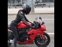 Tanechka Ozolina drivin' her Kawasaki ZX6R (2012) near Spartak Stadium in Moscow (Instagram post)