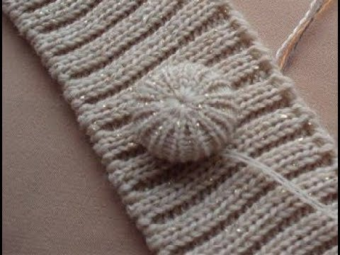 Красивые вязаные пуговицы спицами мастер класс Beautiful Knitted Round Button DIY