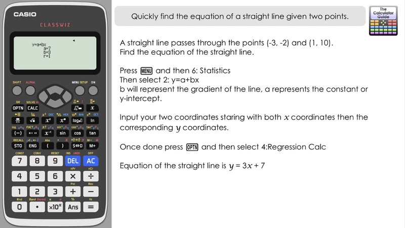 Equation Straight Of A Line Given Two Points Calculator Hack Quick way using Classwiz regression