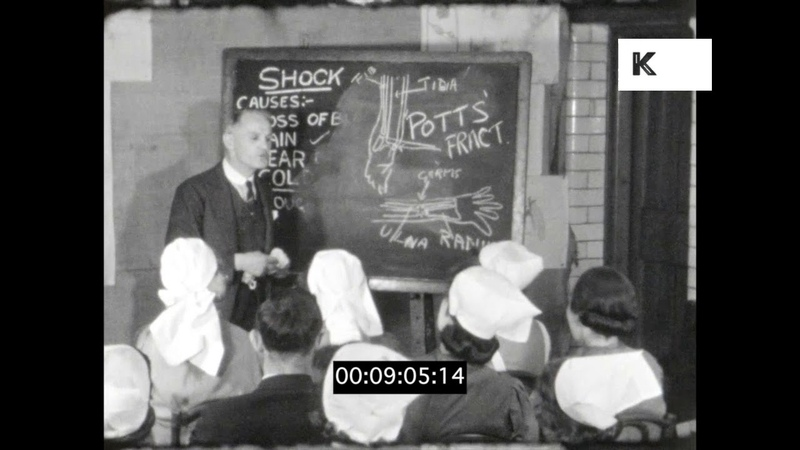 Nurses Training in 1940s Hospital UK in WWII 16mm