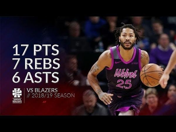 Derrick Rose 17 pts 7 rebs 6 asts vs Blazers 18/19 season