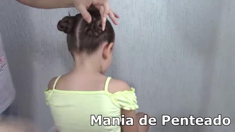 Penteado Infantil com ligas transpassadas em semi preso, Maria Chiquinha ou coque