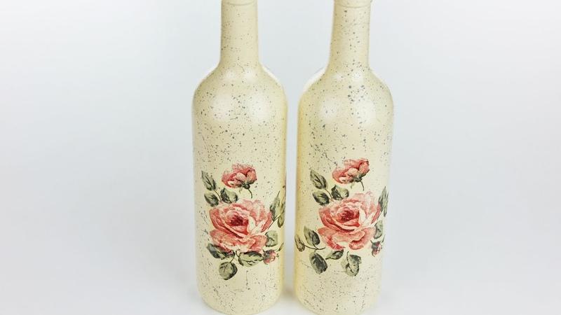 Decoupage bottles - Fast Easy Tutorial - DIY