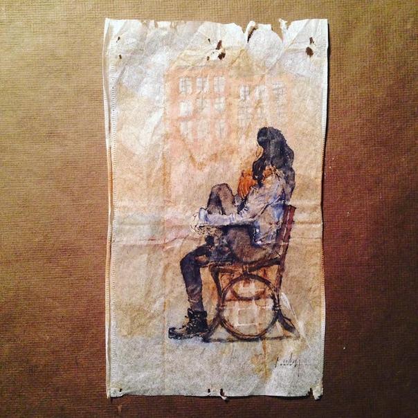 Руби Сильвиус художник, рисующий на чайных пакетиках https://rubysilvious.com