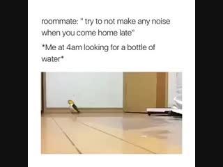 Когда разлил воду на пол