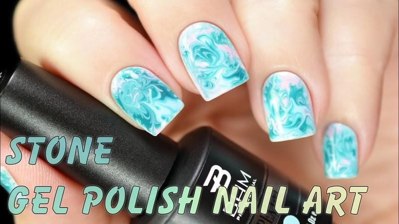 Stone Gel Polish Nail Art - Дизайн по мокрому гель-лаку