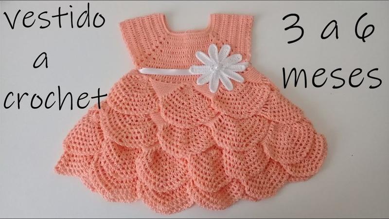 Como tejer un vestido para bebe a ganchillo -olanes -crochet -3 a 6 meses